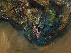 Pfau 1 (kennen lernen), 2020, Öl auf MDF, 30 x 40 cm