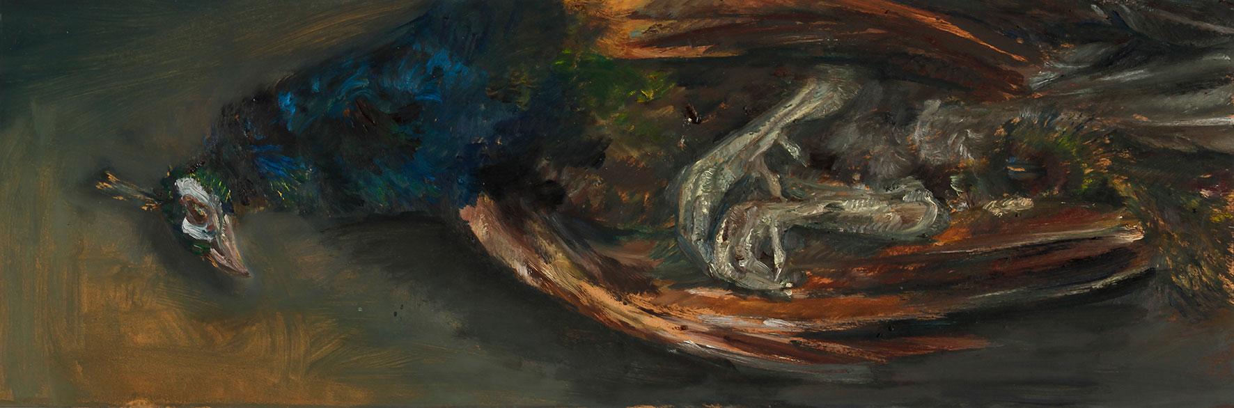 Pfau für Holbein, 2020, Öl auf MDF, 30 x 90 cm