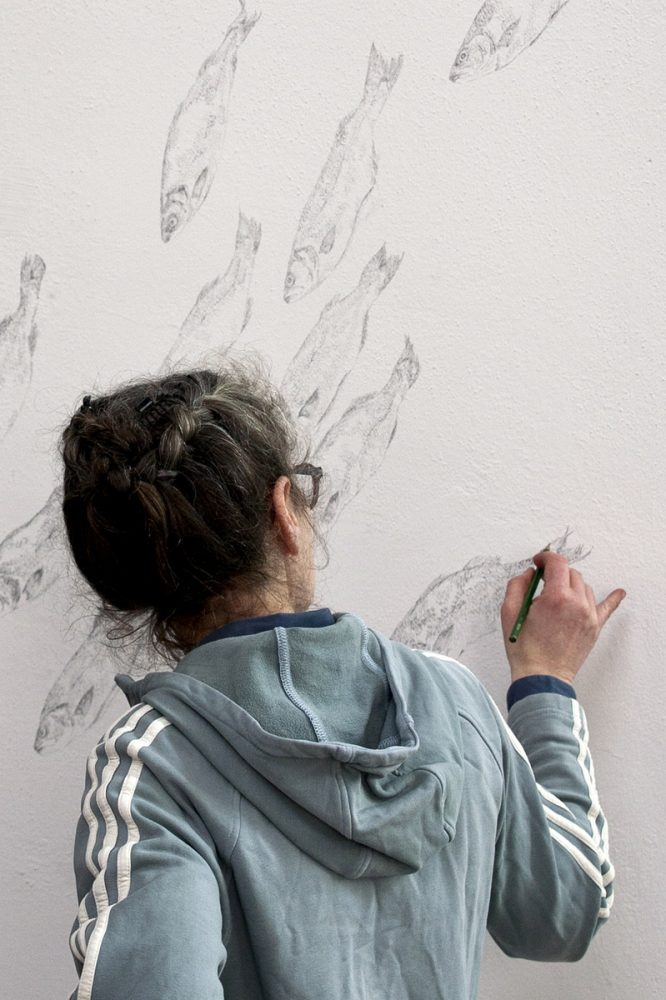 Arbeit an der Wandzeichnung, Rotunde Staatliche Kunsthalle Karlsruhe, 2013