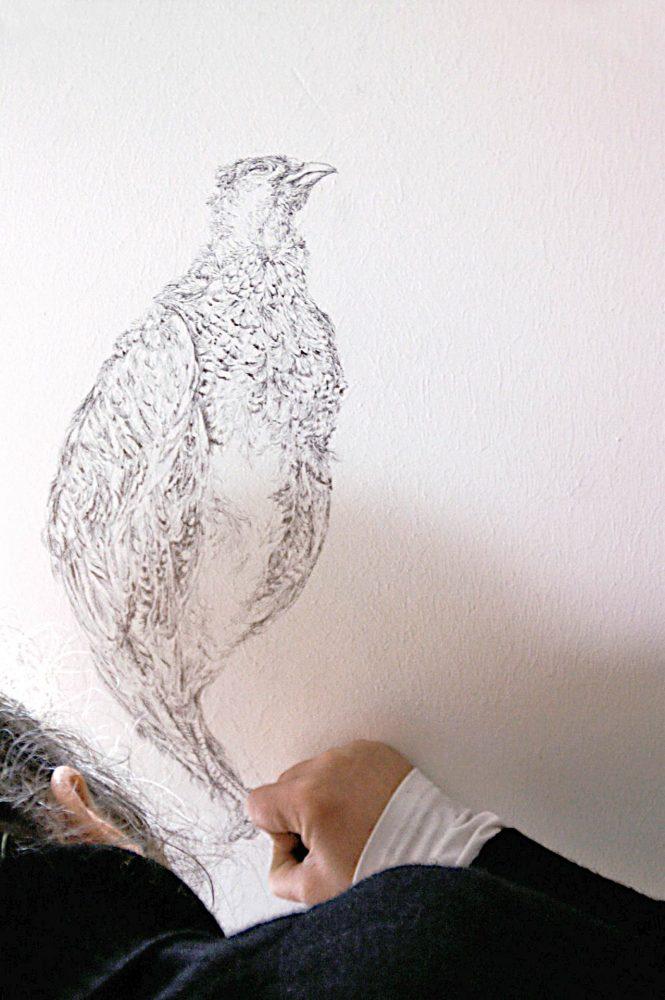 Fasan, Hanau, 2012, Arbeit an der Wandzeichnung