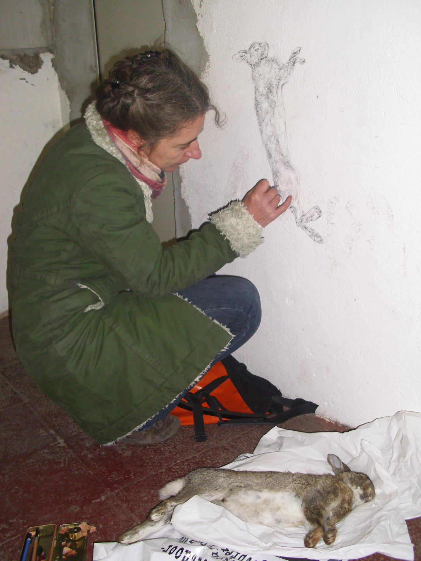 Arbeit an der Wandzeichnung, 2011, Kunstverein Familie Montez