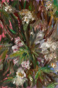 Auf Rot / Kastanien, 2020, Öl auf MDF, 18 x 12 cm