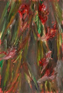 Gladiolen 1, 2020, Öl auf MDF, 19 x 13 cm