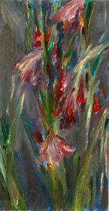 Gladiolen 3, 2020, Öl auf MDF, 21 x 11 cm