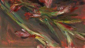 Gladiolen 3, 2020, Öl auf MDF, 13 x 23 cm