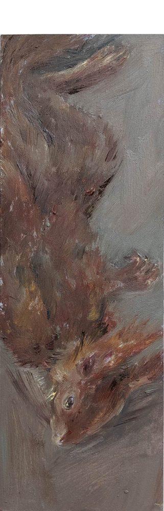 Eichhörnchen (kopfunter), 2019, 32 x 11 cm, Öl auf MDF