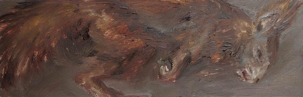 Eichhörnchen, 2019, 11 x 34 cm, Öl auf MDF