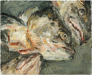 Fischkopfbild 1, 2001, Öl auf Malpappe, 18 x 24 cm