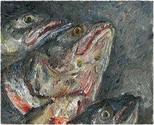 Fischkopfbild 2, 2001, Öl auf Malpappe, 18 x 24 cm