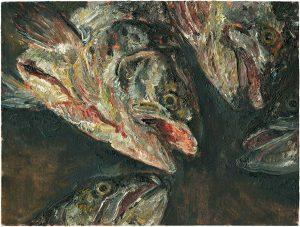 Fischkopfbild 3, 2001, Öl auf Malpappe, 12 x 18 cm