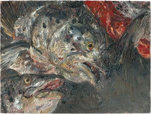 Fischkopfbild 4, 2001, Öl auf Malpappe, 18 x 24 cm