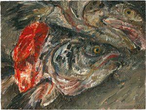 Fischkopfbild 5, 2001, Öl auf Malpappe, 18 x 24 cm