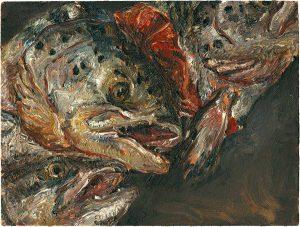 Fischkopfbild 6, 2001, Öl auf Malpappe, 18 x 24 cm