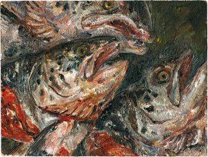 Fischkopfbild 7, 2001, Öl auf Malpappe, 18 x 24 cm