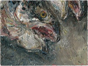 Fischkopfbild, 2001, Öl auf Malpappe, 12 x 18 cm