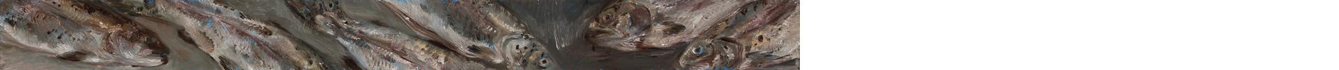 Forellen (kürzer), Öl auf MDF, 2019, 8 x 90 cm