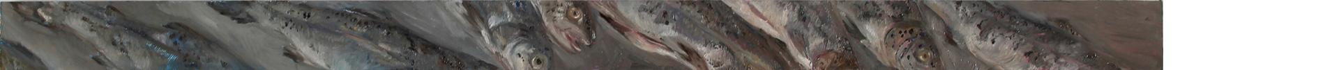 Forellen schwimmen 2, Öl auf MDF, 2019, 8 x 132 cm