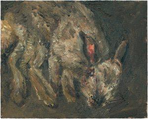 Hasenmalen 2, 2003, Öl auf Malpappe, 24 x 30 cm