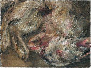 Hasenmalen 8, 2003, Öl auf Malpappe, 18 x 24 cm