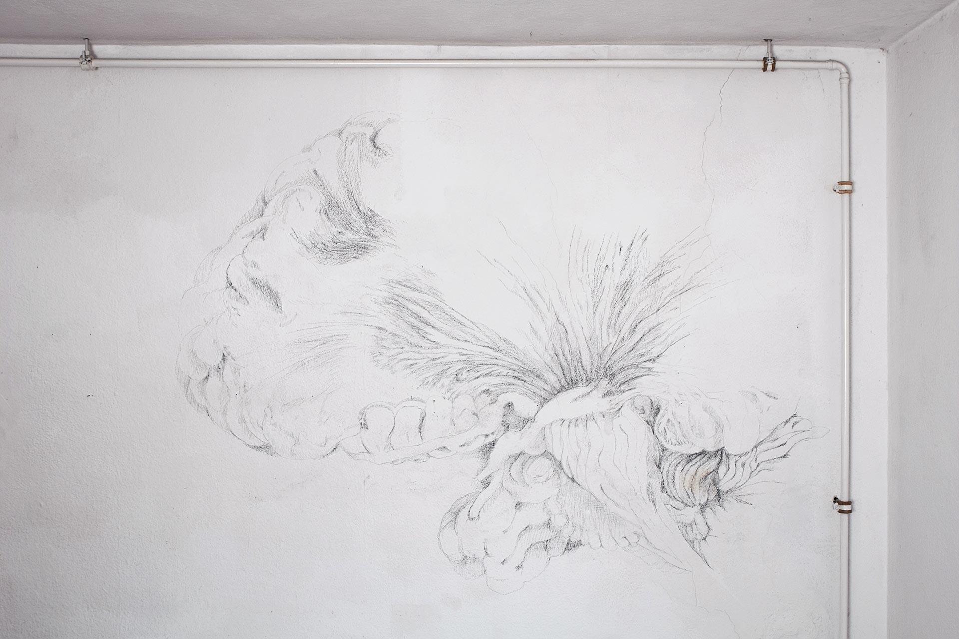 Hirn, 2008, Wandzeichnung