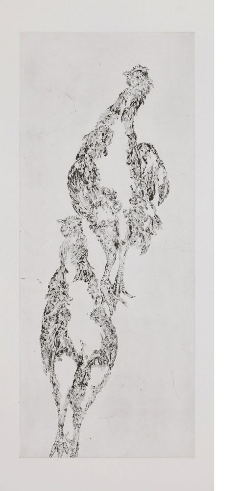 Hohe Hühner, 2016, 137 x 62 cm