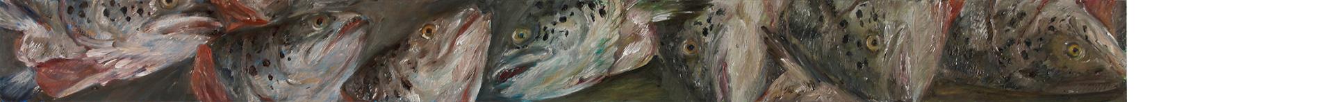 Lachskopffries 2, 2019, 110 x 10 cm, Öl auf MDF