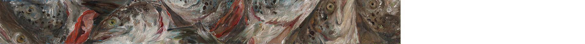 Lachskopffries 3, 2019, 90 x 10 cm, Öl auf MDF