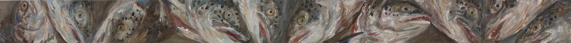 Lachskopffries 4, 2019, 130 x 10 cm, Öl auf MDF