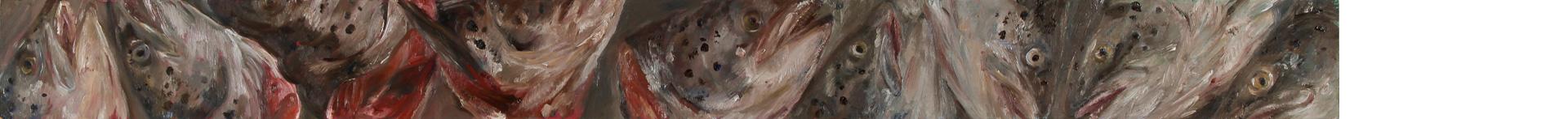 Lachskopffries 5, 2019, 110 x 10 cm, Öl auf MDF