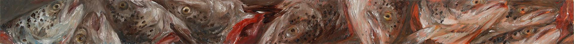 Lachskopffries 6, 2019, 130 x 10 cm, Öl auf MDF