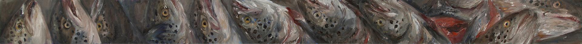 Lachskopffries (Auftakt), 2019, 130 x 10 cm, Öl auf MDF