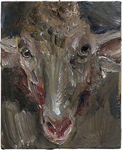 Lamm frontal, 2009, Öl auf Pappe, 14 x 11,2 cm