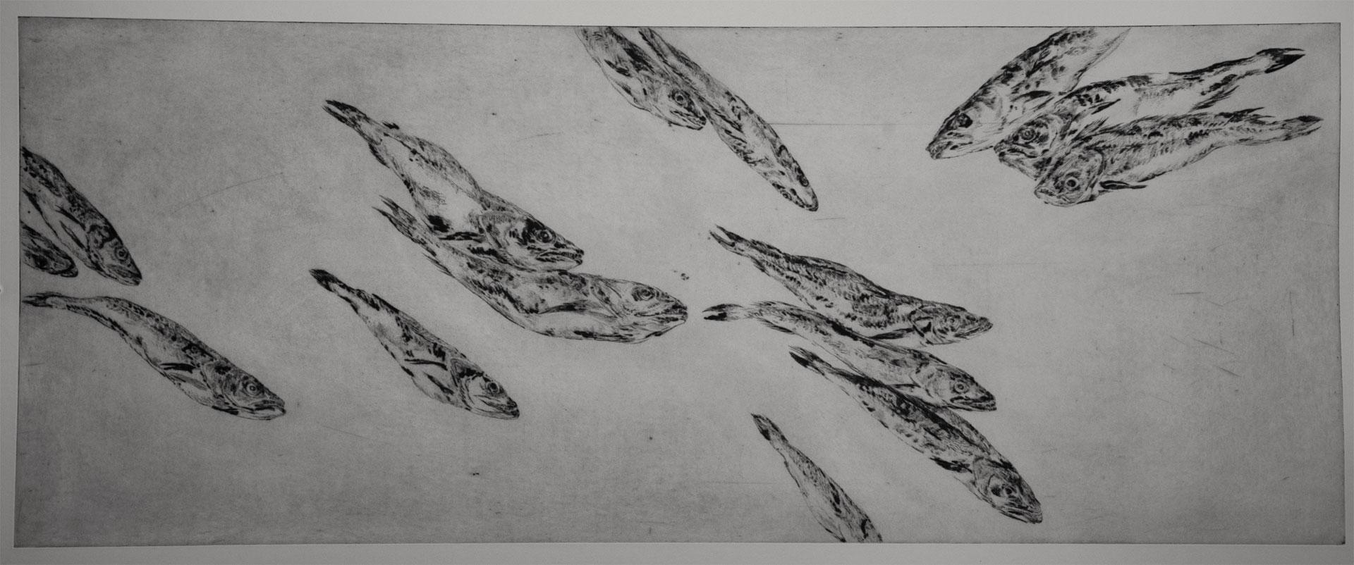 Ohne Titel (Fische), 2013, Kaltnadelradierung, 100 x 40 cm
