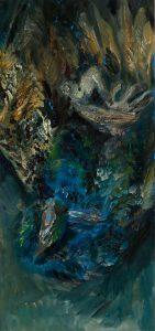 Pfau 3 (mit dem blauen Aug), 2020, Öl auf MDF, 65 x 30 cm