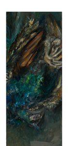 Pfau 7b (auf Blitzblau), 2020, Öl auf MDF, 60 x 25 cm