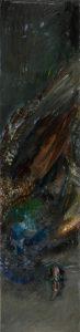 Pfau 8 (im Dunkel), 2020, Öl auf MDF, 102 x 25 cm
