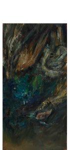 Pfau 9 (auf Kupfer, alles matt), 2020, Öl auf MDF, 55 x 28 cm