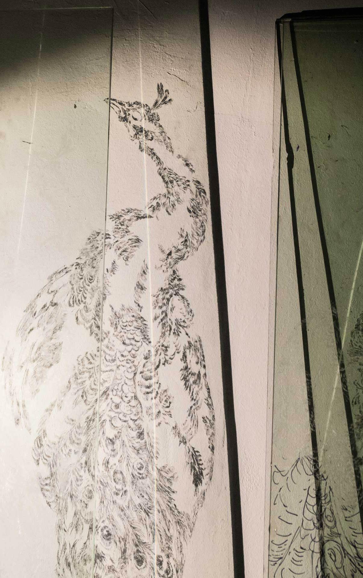 Pfau, 2015, Projektion (Detailansicht), Atelier Rödelheim