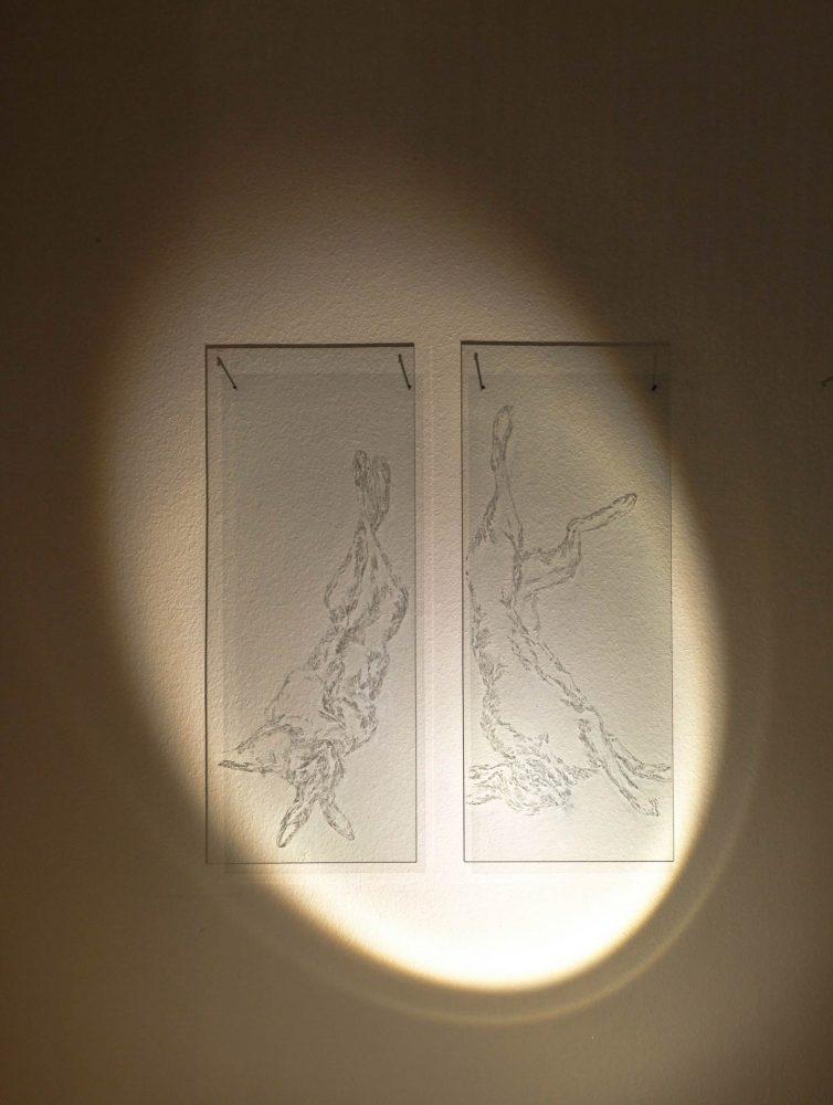 Hängende Hasen, 2015, 2 Glasgravuren, Licht
