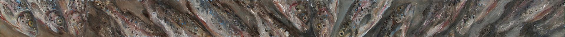 Prächtige Forellen, Öl auf MDF, 2019, 10 x 150 cm